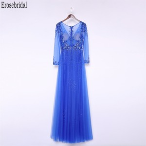 Image 2 - Erosebridal Royal Blue Prom Dress Long Sleeve 2020 New Fashion Elegant Long Formal Evening Gown Party Luxury Beaded Prom Gown