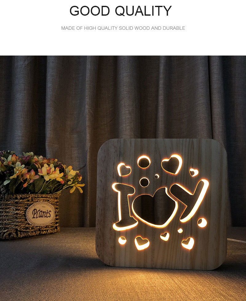 3D Wooden Night Light I Love You Design LED Warm White USB Table Desk Lamp For Valentine's Day Gift Home Bedroom Club Decoration (1)