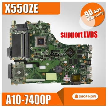 X550ZE motherboard A10-7400CPU support LVDS mainboard For ASUS  X550ZE X550ZA K550Z A555Z VM590Z Laptop motherboard Test Working