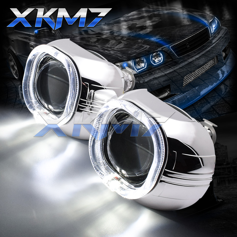 XKM7 Square Projector Headlight Lenses Bi-xenon Super 3.0 H1 HID Lens Angel Eyes Automobiles Kit Car Lights Accessories Tuning