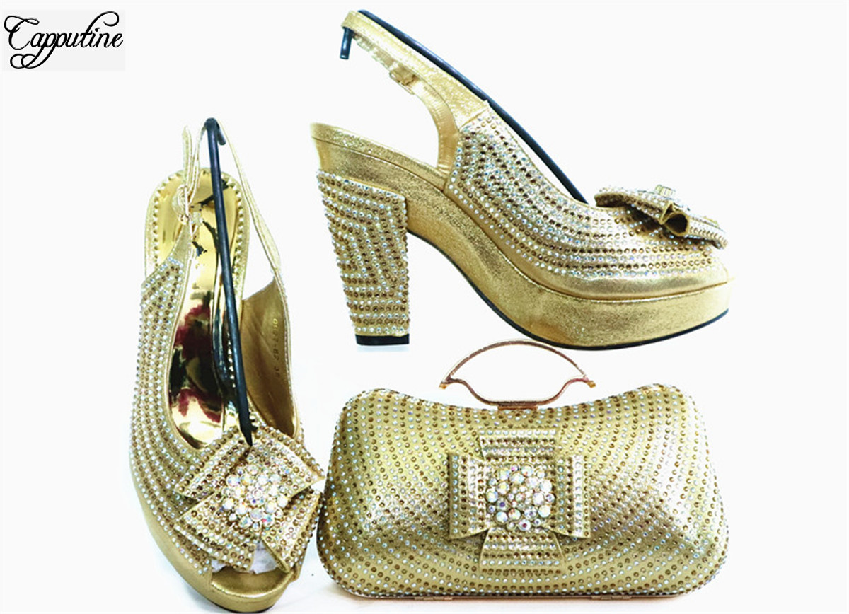 Fashion Gold Sandals With Bag Nice African Lady Shoes And Purse Handbag Set For Party GL1912-6 Heel Height 10.5cm