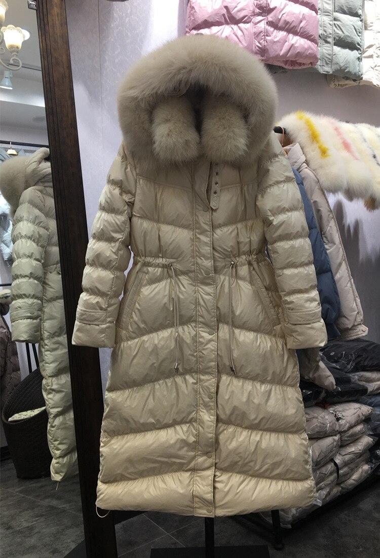Fabricants vente en gros doudoune femmes 2019 nouveau Style mi-long mode coupe ajustée Surface lumineuse blanc canard vers le bas grande fourrure Co