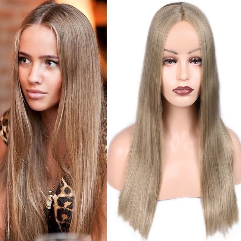 FAVE Synthetic 9*1.8 Lace front Wig Straight Light Brown Blonde Middle Part 24 Inch For Women Cosplay High Temperature Fiber