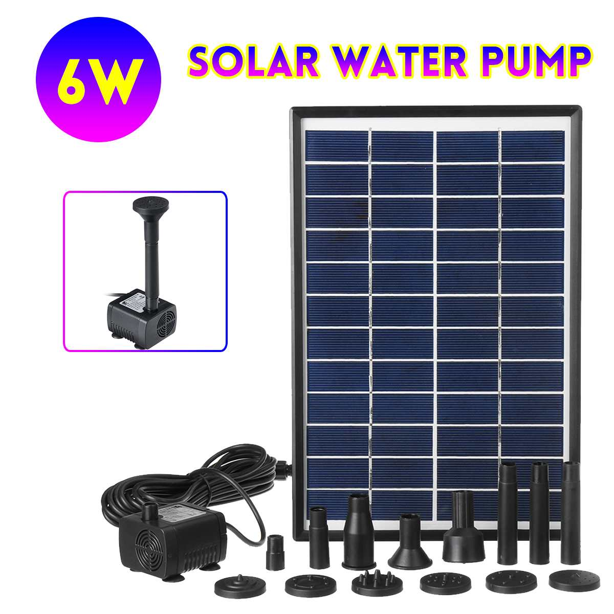 Solar Power Panel 6W Water Pump 500L/H Garden Landscape Floating Fountain Artificial Outdoor Fountain Home Decoration Pump Set