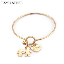 New 58mm Stainless Steel Gold/Silver Love Heart Charm Bracelet & Bangle For Women Classic Mom & Child Bangles Mother's day Gifts(China)