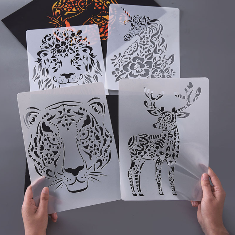 1pc Stencils For Painting Bullet Journal Stencils And Decoration Animal Template DIY Painting Tools Photo Album Scrapbooking image