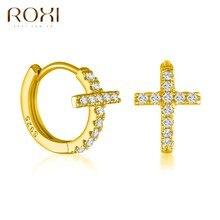 ROXI Luxus Kristalle Kreuz Hoop Ohrringe für Frauen Mädchen Huggie Ohr Schnallen Knorpel Ohrringe 925 Sterling Silber Edlen Schmuck