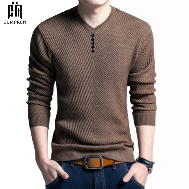 New Autumn Winter Cotton Sweater Men Pullover Casual Jumper For Male Knitted Men's V-neck Long-sleeved Sweater  Bottoming Shirt