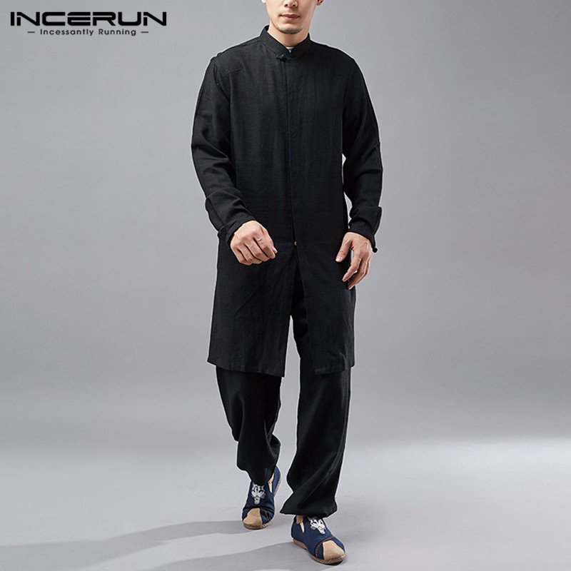 Men's Sets Solid Color Cotton Suits INCERUN Leisure Long Sleeve Stand Collar Tops Elastic Pants 2 Pieces Chinese Style Sets 5XL