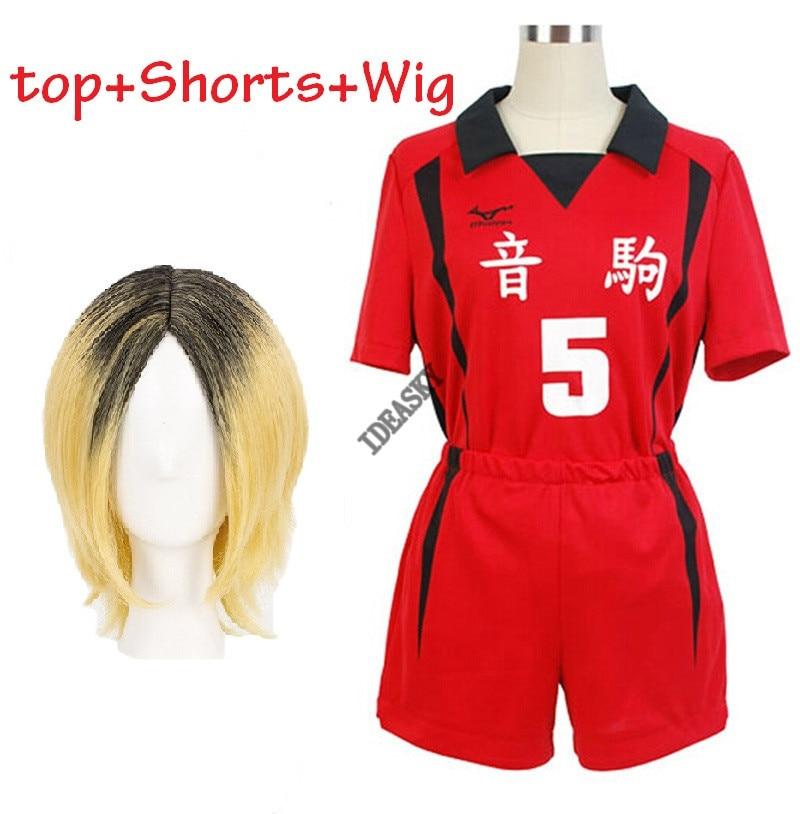 Haikyuu Nekoma lise 5 1 Kenma Kozume Kuroo Tetsuro Cosplay kostüm Haikiyu voleybolu topu takım forması spor üniforma peruk