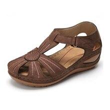 цены Women Sandals 2020 New Summer Shoes Woman Soft Bottom Wedges Shoes For Women Platform Sandals HookLoop Gladiator Sandalias Mujer