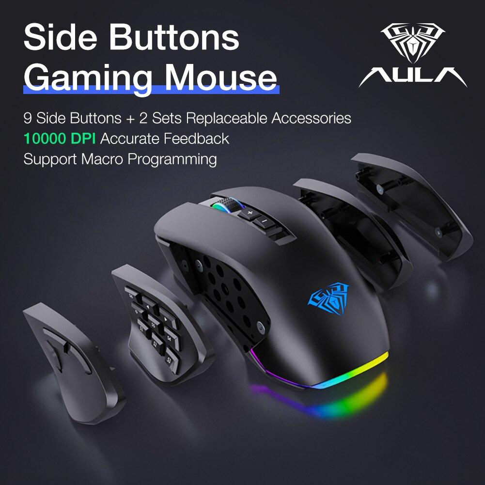 mouse 9 lado buttonsbacklit gamer ratos macro programável ergonômico