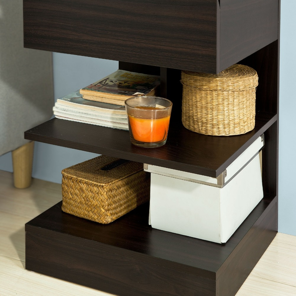 Купить с кэшбэком Sobuy Fbt49, Modern End Table Coffee Night Stand Bed Sofa Side Table With 1 Drawer And 2 Living Room Furniture