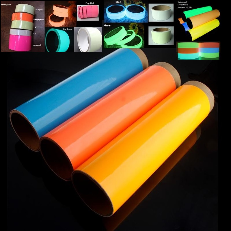 30CM*1M Self-adhesive Glowing Night /Dark Safety Stage Striking Warning Safety Sticker PET Luminous Adhesive Film