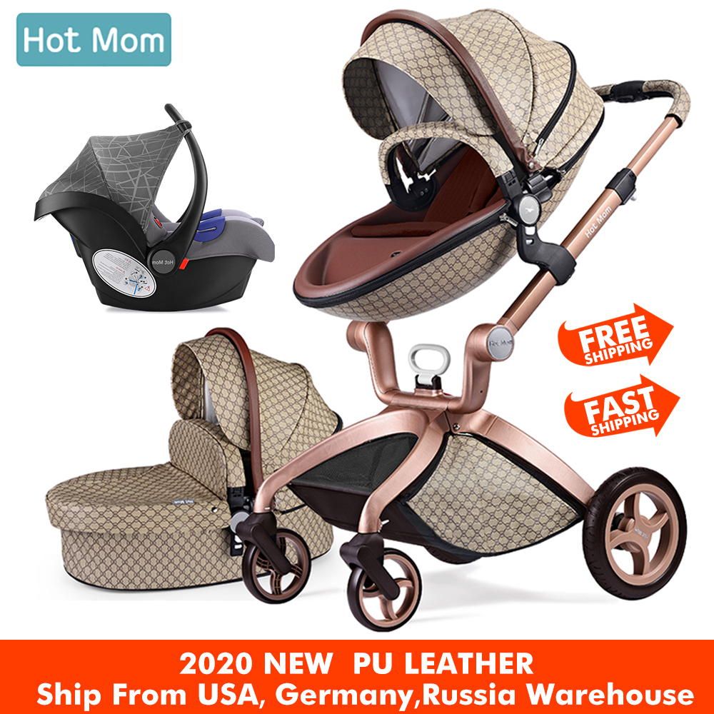 Baby Stroller 3 In 1,Hot Mom Travel System High Land-scape Stroller With Bassinet In 2019 Folding Carriage For Newborns Baby,F22