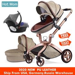 Cochecito de bebé 3 en 1, sistema de viaje mamá caliente cochecito de paisaje alto con cuna en 2019 carro plegable para recién nacidos bebé, F22