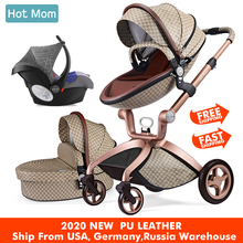 Hot Mom Baby Stroller 3 in 1 travel system High Land-scape stroller with bassinet in 2019 Folding Carriage for Newborns baby quinny travel system buzz xtra stroller red rumor