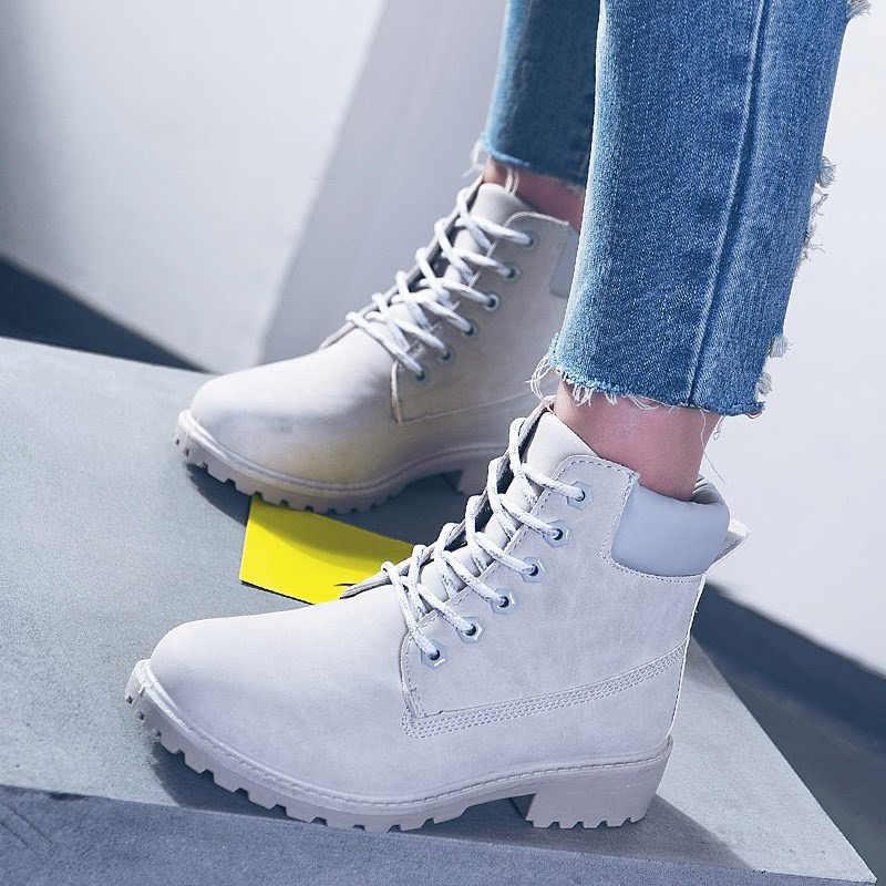 Kış çizmeler kadın ayakkabıları Sıcak Peluş 2019 Katı Ayakkabı Kadın Kar Botları Kadın dantel-up martin bilekli çizme rahat ayakkabılar Kadın