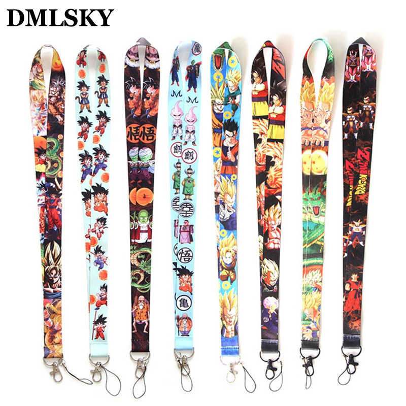 DMLSKY 8 styles Japanese Anime Dragon Ball Keychains Lanyard Neck Key Strap for Phone Keys ID Card Cartoon Lanyards M2349