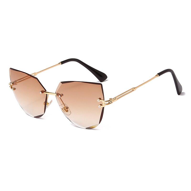 Rimless Cat Eye Sunglasses Luxury Brand Design Women Metal Sun glasses Fashion Lady Shades UV400 Eyewear oculos gafas de sol|Women's Sunglasses| - AliExpress