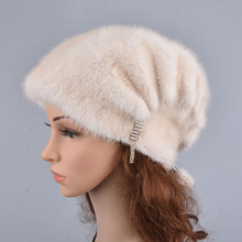 Hats Pompons Mink-Fur Ladies Beanie Elegant Winter Luxury with High-Quality Whole Female