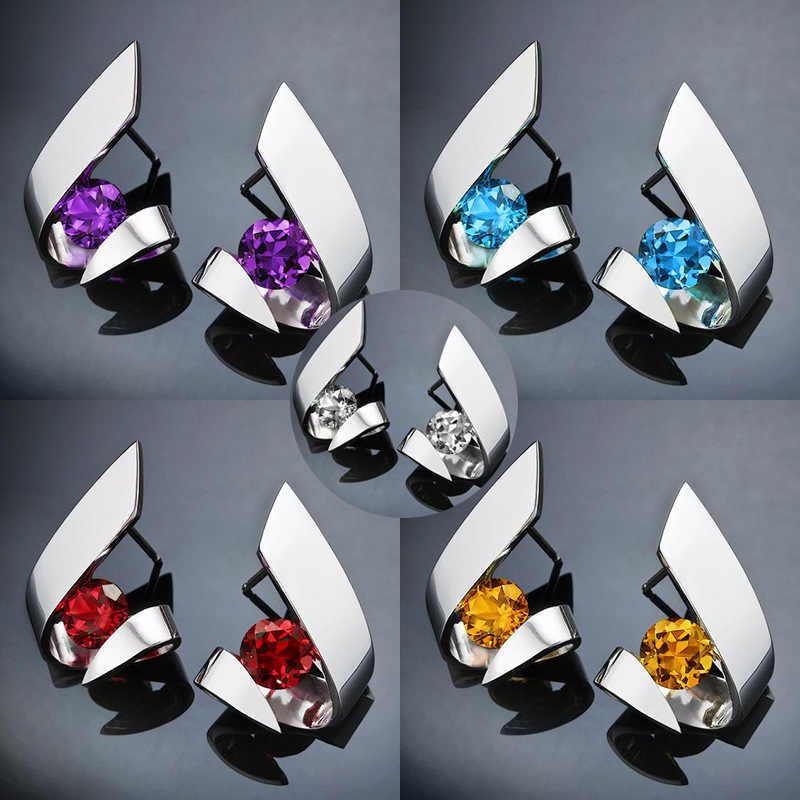RongXing Geometric Irregular Round Multicolor CZ Stone Stud Earrings For Women 925 Silver Filled Crystal Zircon Earring Jewelry