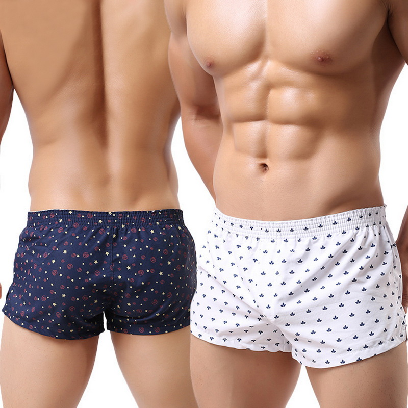 DIHOPE 2020 Men Underwear Boxer Shorts Loose Breathable Sleepwear Trunks Slacks Men Underwear Printed Sexy Dot Men Shorts