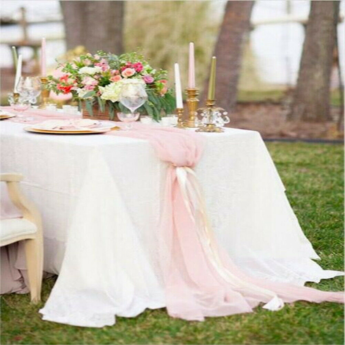 Solid Color Chiffon Table Runner White Wedding Table Cloth Runner Tablecloth Chair Sash Banquet Party Decor Table Flags Cover