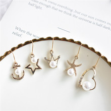 Fashion lovely crown peach pearl imitation stud earrings jewelry wholesale Free Shipping Crown boucle doreill for Women