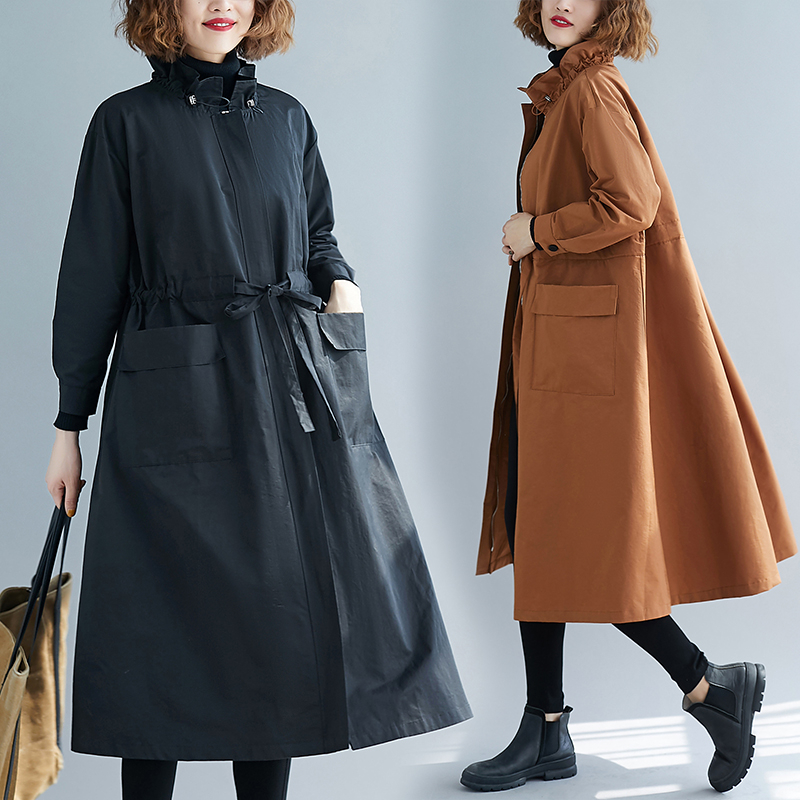ARCSINX Women Clothes 2019 Trench Coat Plus Size 4XL 5XL 6XL Long Trench Coat For Women Oversized Black Long Sleeve Coat Women