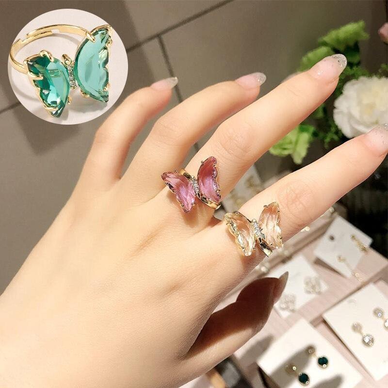 Новый дизайн, Открытое кольцо с бабочкой, высококачественное медное инкрустированное цирконием, роскошное блестящее кольцо для коктейвече...