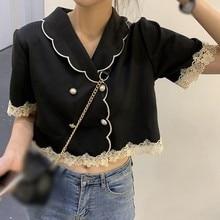 Women Blouses Summer Short Sleeves Crop Top Retro Elegant Peter Pan Collar