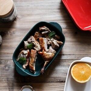 Керамическая бинауральная прямоугольная тарелка для сыра, сковорода, противень для выпечки, Западная Посуда, миска для духовки, высокая тем...