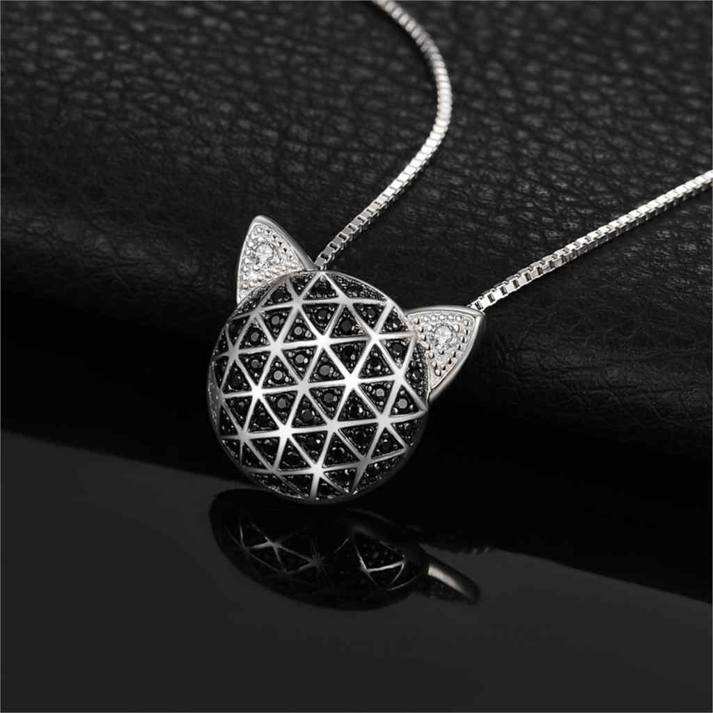 JewelryPalace colgante de cara de gato de Zirconia cúbica espinela negra genuina sin cadena 925 colgantes de plata esterlina collares sin