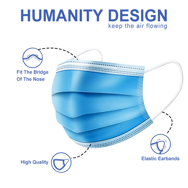 High quality Disposable face masks 3-Layer Anti bacterial Filtration Mascarillas Anti dust mask маска маски Safety shipping 3