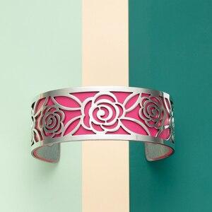 Image 3 - Legenstar geometria wymienna bransoletka mankietowa Manchette Femme Rose Flower bransoletki ze stali nierdzewnej bransoletki dla kobiet biżuteria
