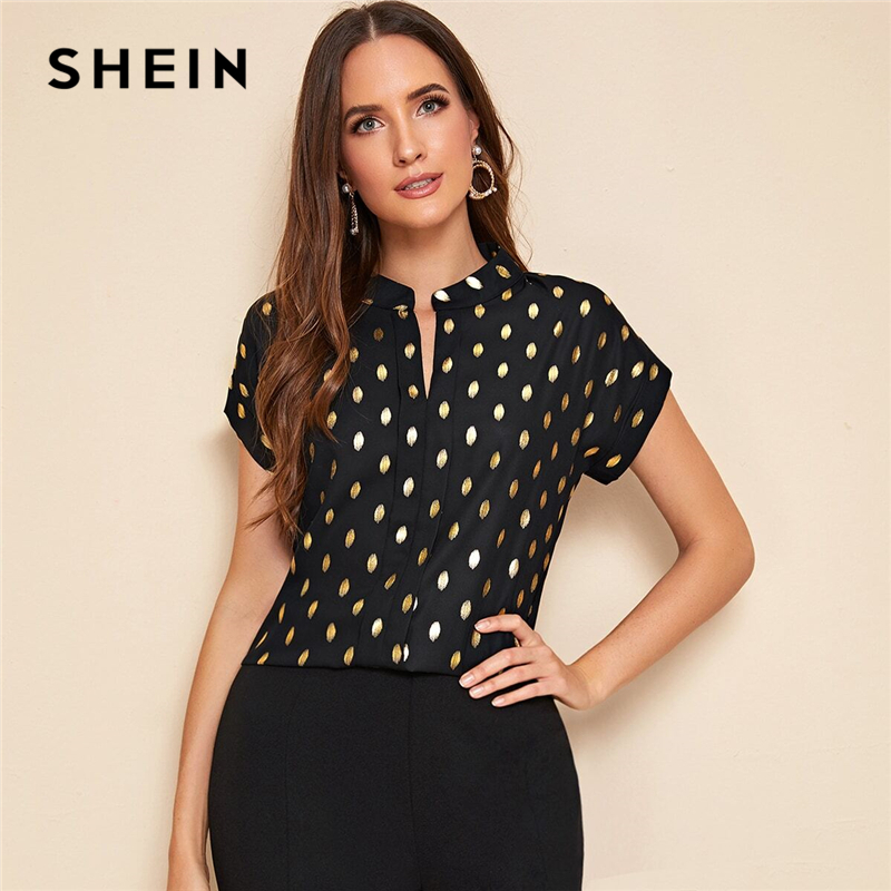 SHEIN Notched Collar Black Polka Dot Print Casual Blouse Women 2020 Summer Short Sleeve Office Ladies Elegant Blouses And Tops