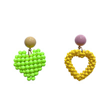 Korean Star Net Fashion Beads Candy Color Love Hollow Earrings for Women Weddings Party Irregular Geometric Jewelry Gift 1pcs fashion rainbow color cute beads geometric necklace pendent for women gift party decoration