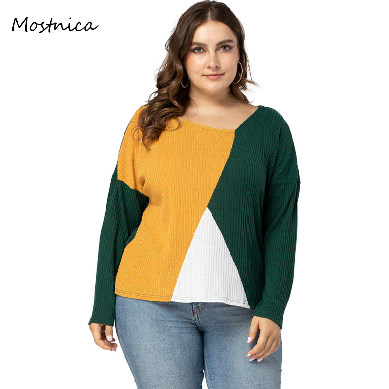 Mostnica Plus Size Multicolor Ribbed Knit Sweater Women Casual Drop Shoulder V Neck Long Sleeves Woman Spring Pullovers Sweater