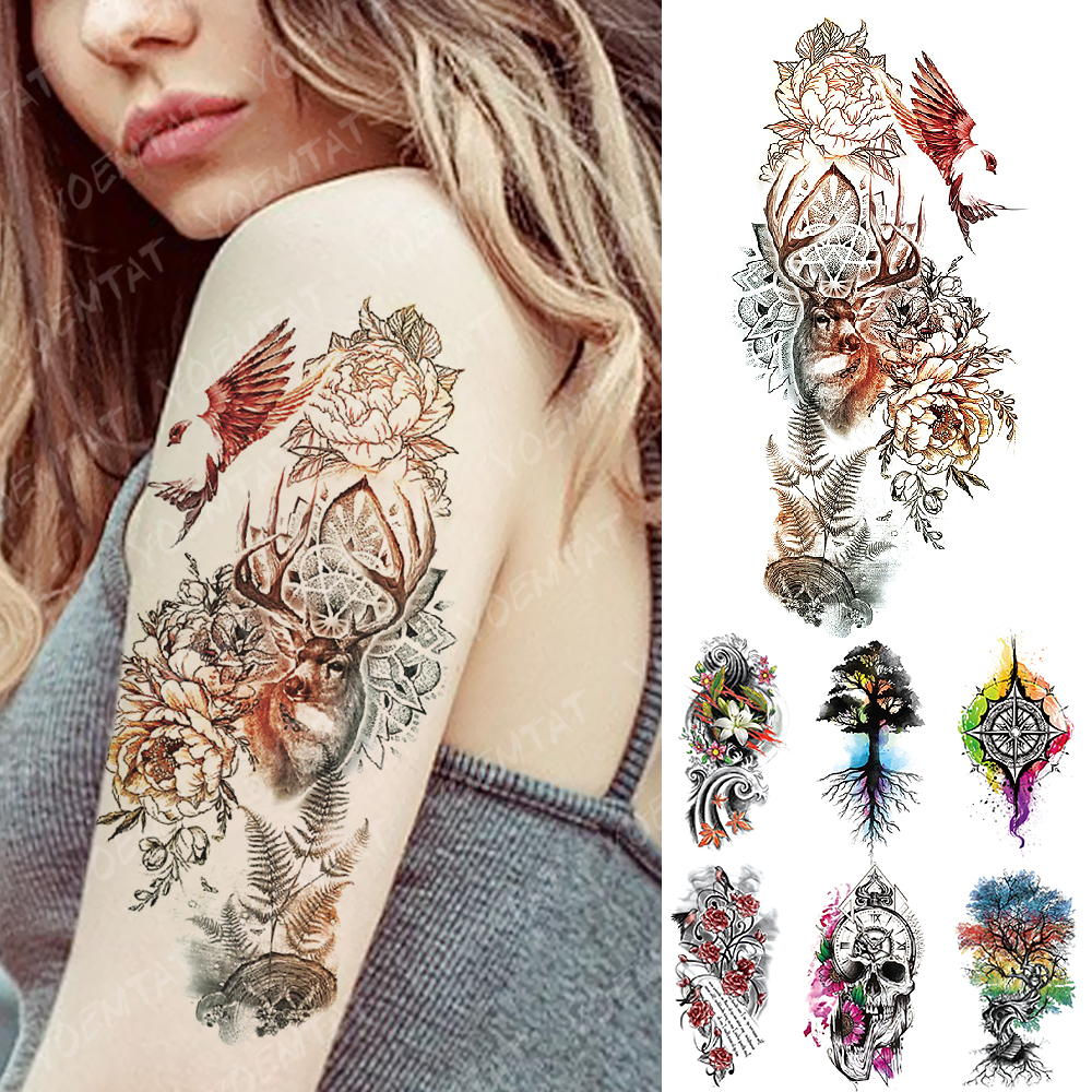 Waterproof Temporary Tattoo Sticker Forest Deer Bird Skull Flower Flash Tattoos Color Family Tree Body Art Arm Fake Tatoo Women