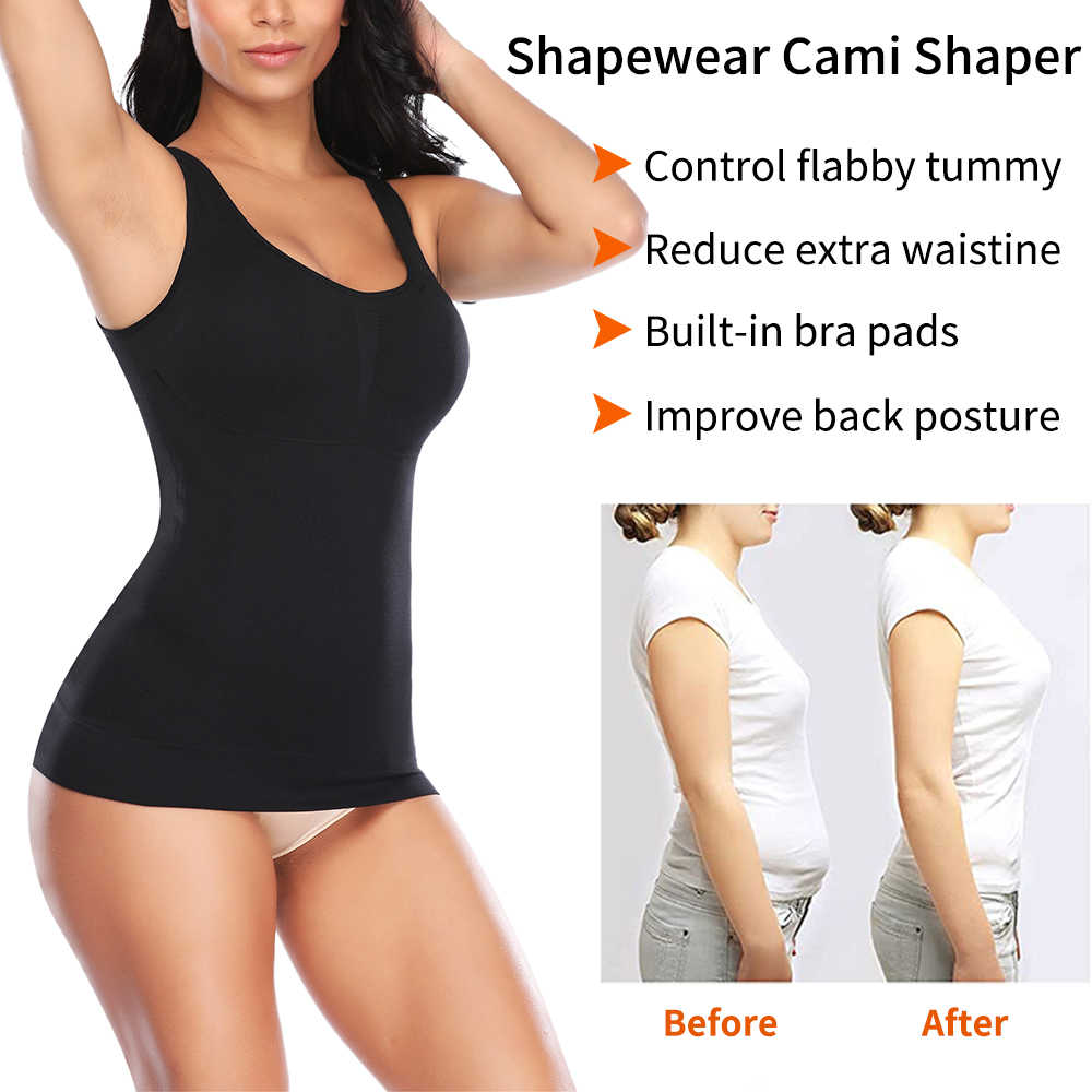 UK Lady Women Summer Cami Shaper Padded Bra Tank Top Slimming Camisole Vest Cami
