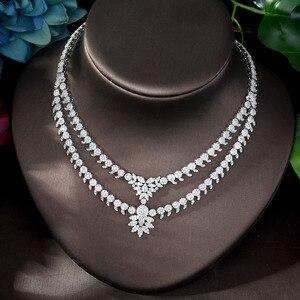 Image 4 - HIBRIDE luxe classique couleur or blanc AAA + CZ pierre mariage robe de mariée accessoires fête bijoux ensembles pour les femmes N 1197