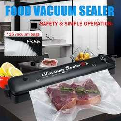 90W Household Food Vacuum Sealer Packaging Machine EU/US Plug Film Sealer Vacuum Packer Including110V/220V 15Pcs Bags