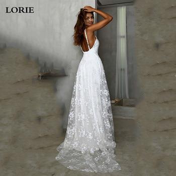 LORIE Beach Wedding Dress Boho Vestido De Noiva Bohemian Lace Bridal Dress Backless Spaghetti Straps V Neck Wedding Gowns