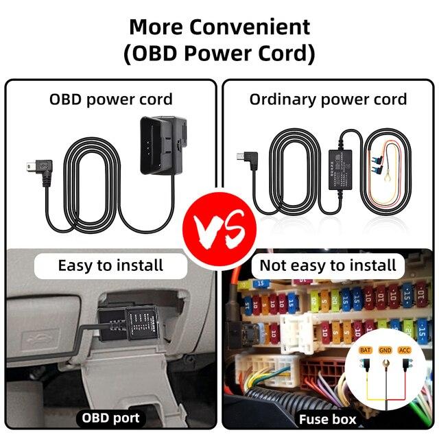 Deelife alambre duro de Hardwire Kit de cámara de salpicadero Dashcam DVR de coche 12V 24V a 5V 3A 2A Mini Micro USB Buck línea OBD2 OBD 2 Cable de alimentación