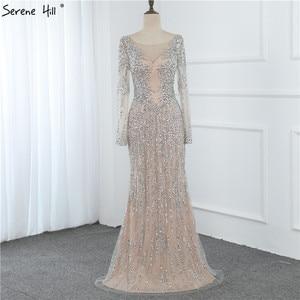 Image 4 - Dubai prata o neck sereia vestidos de noite design 2020 luxo mangas compridas lantejoulas miçangas vestido de noite la70249