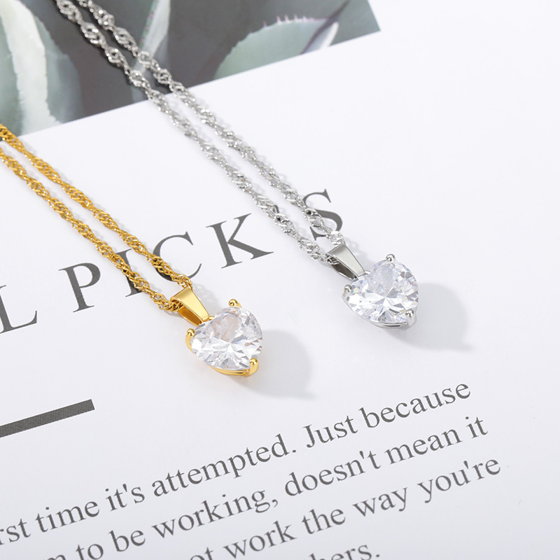 Heart Necklaces For Women Stainless Steel Gold Chain Zircon 5
