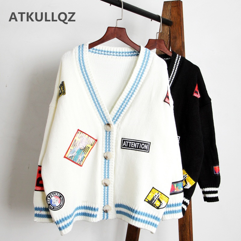 High Quality 2019 Autumn New Women's Sweater Large Size Loose Casual Personality Cardigan Embroidery Pattern Cartoon Long Coat
