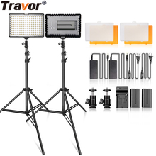 TRAVOR LED studio light 2 kit video light dimmable panel light with 2M tripod for wedding news interview YouTube photography spash tl 240s led video light 2 in 1 kit photography lighting led panel lamp camera light with tripod for youtube photo studio