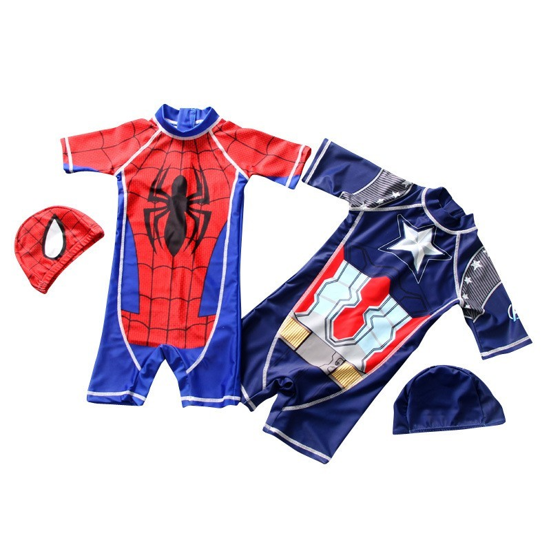 Super Hero Boy's Swimsuit Baby Swimwear Child Bathing Suit One-piece Swimsuit Bat  Man Spider  Man Swimwear With Cap Swim Suit